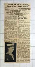1964 Penzance Boy Rodney Evans Gains Gold Award Hms Drake Plymouth