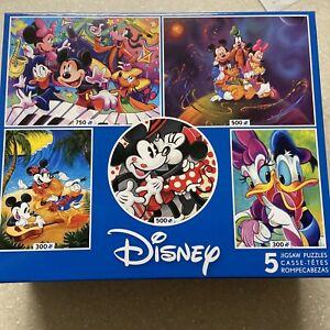 🟢🧩 Disney 5 in 1 Jigsaw Puzzles, Minnie Mickey Mouse. New. 24 hrs shipping