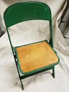 Vintage 1950s Industrial Metal Green Children's Folding Chair with Wood Seat