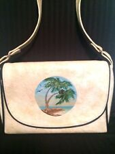 The Original Florida Keys Handbag Purse Vintage CREAM  Shoulder Bag Leather