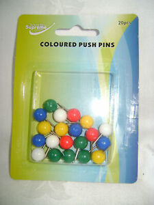 SUPREME 20 COLOUR PUSH PINS STATIONERY HOME OFFICE WORK NOTICE BOARD