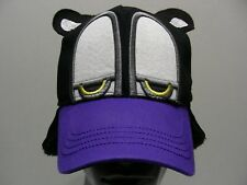 SLEEPY EYED DOG - BLACK & PURPLE WITH EAR FLAPS - MED SIZE FITTED BALL CAP HAT!