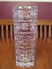 Stunning Riedel Crystal Basket Weave Pattern Tall Heavy Vase Signed