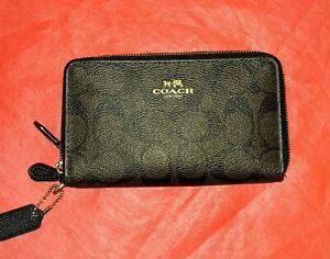 NWOT Coach 53837 Double Zip Black Brown Gold Signature PVC Wallet Wristlet