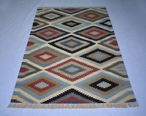 Handmade Vintage Cotton Rug Multi Color Retro 4'x6' Feet Kilim Rug DN-1447