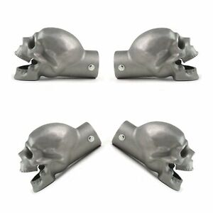 """4 PACK Unpolished Skull Exhaust Tip - Original - 2.5"""" streets rods motorcycles"""
