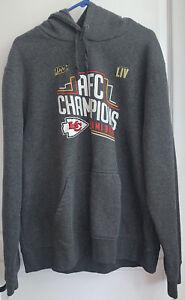 NWOT Kansas City Chiefs AFC Champions Gray Sweatshirt Hoodie Miami Bound 2XL