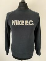 Nike FC Vintage Retro Football Black Jumper Sweater Silver Logo Zip Pocket S