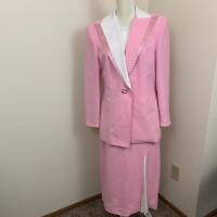 womens 12 Solini New York skirt suit set vtg pink
