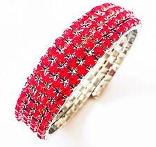 USA Bracelet Rhinestone Crystal Adjustable Bangle RED Party Fashion Clearance