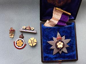 Rare Group of PRIMROSE LEAGUE Badges etc  1885 SPECIAL SERVICE, 1887 + WWI 14-18