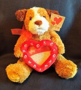 Heart Photo Frame Teddy Bear Light Brown w/ Red Bow Kiss Hug Heart Frame XO
