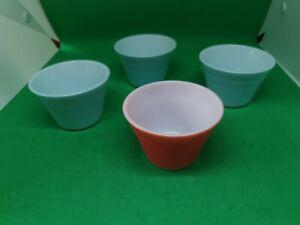 Set of 4 Pyrex 1950s retro Ramekin Dishes Custard Cups Pastel Colours