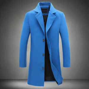 Men's Vintage Single Breasted Overcoat Coat Trench Coat Winter Warm Long Jacket