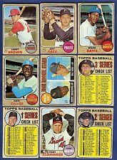 1968 Topps Baseball Starter Set 9 Different Cards (67-208) G-VG