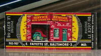 Vintage Matchbook Cover Z4 Baltimore Maryland Auto Spring Car Service Fayette St