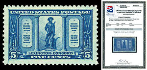 Scott 619 1925 5c Lexington-Concord Issue Mint Graded VF-XF 85 NH with PSE CERT!