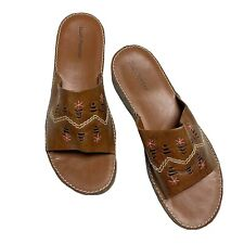 Hush Puppies NWOB Women's Slides Sandals Brown Leather Boho-Style US 11M. JnS33