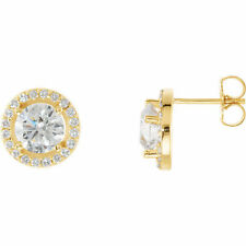 Diamond Halo-Styled Earrings In 14K Yellow Gold (2 1/2 ct. tw.)