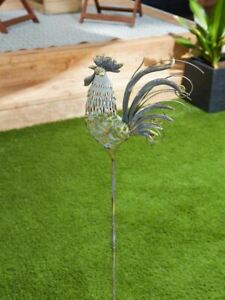 Rooster Chicken Yard Ornament Iron Metal Garden Stake NEW