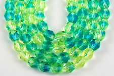 50 Fire Polished Czech Faceted Aqua Jonquil Round Loose Craft Glass Beads 6mm