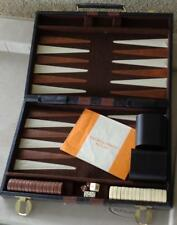 Nice Vintage Backgammon Game - With Case - All Pieces & Instruction Rule Card