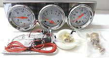 Chrome Triple Gauge Set - Mechanical Oil Pressure - Voltage - Water Temperature