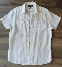 Witchery Men's White Linen Shirt Size L