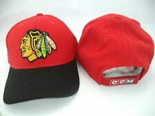 Chicago Blackhawks CCM NHL Structured Red Black Adjustable Hat Cap OSFA