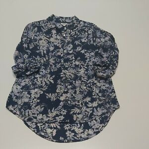 FAT FACE  Size 8 Floral Print Blouse Shirt  Navy Cotton lightweight