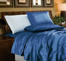 Chezmoi Collection 4-Piece Solid Navy Bridal Satin Sheet Set