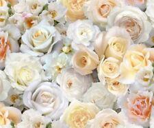 Digital Garden Roses White Rose Flower Blossoms Cotton Fabric Fat Quarter