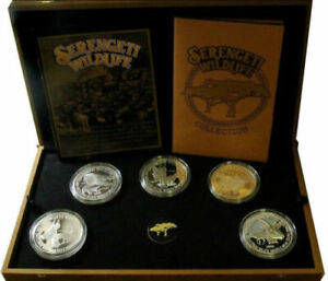 1998 TANZANIA 2500 Shilingi 50 Oz Silver 10 Coins Proof Set Serengeti Wildlife