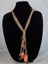 Kenneth Cole New York Goldtone Red Braid COLOR SPLASH Long Tassel Necklace $68
