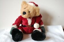 "16"" Russ Kris Bear Christmas Holiday Santa Claus Stuffed Plush Toy Curly Fur"