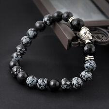 Handmade natural White spot stone bead 8mm Tibet silver Buddha lucky bracelet
