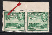 CYPRUS 1938 KGVI 11/2 pi GREEN S.G 155ab RIVER FLOW LINE ERROR PAIR with NORMAL