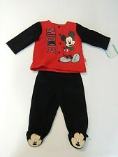 NEW Disney Baby Mickey Mouse Infant 0-3 Months Red & Black Sweatsuit NWT