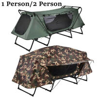 Folding 1/2 Person Elevated Camping Tent Cot Waterproof Hiking Outdoor w/ Bag