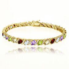 Multi Color Gemstone & White Topaz Tennis Bracelet in Gold Plated 925 Silver