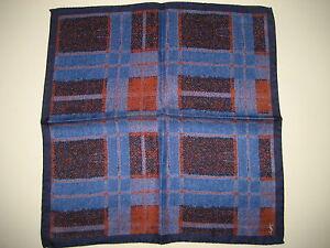 "$140 NEW Yves Saint Laurent YSL Blue/Orange Silk Handkerchief Pocket Square 13"""