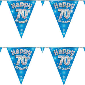 Happy 70TH Birthday Bunting Blue Holographic Foil Party 3.9m/11 Flag by Oaktree