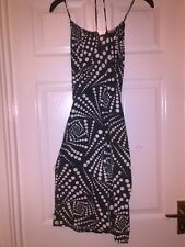 LADIES BLACK AND WHITE PILOT DRESS SIZE 10 TIES ROUND THE NECK