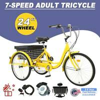 """24""""Adult Tricycle 3-Wheel Trike Cruiser Bicycle w/ Basket for Shopping & Outing"""