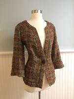 Size 16 Coldwater Creek Brown Boucle Knit 3/4 Sleeve Blazer Jacket Top XL