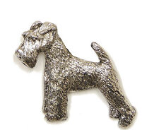 Wire Hair Fox Terrier Brooch, Silver Finish