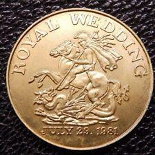 Royal Wedding 1981 Charles & Diana Sovereign-sized HMkd silver gilt medallion