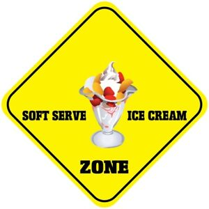 Yellow Aluminum Crossing Sign Soft Serve Ice Cream Zone Cross Xing Style A