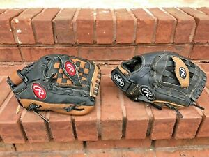 "Lot of 2 Rawlings Pro savage playmaker gold 11"" leather Baseball glove lot R-H"