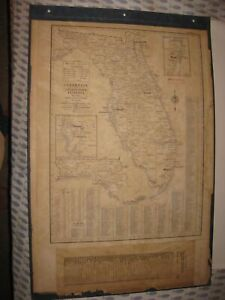 HUGE ANTIQUE 1955 FLORIDA COUNTY TOWN MAP MIAMI TAMPA KEYS JACKSONVILLE DETAILED